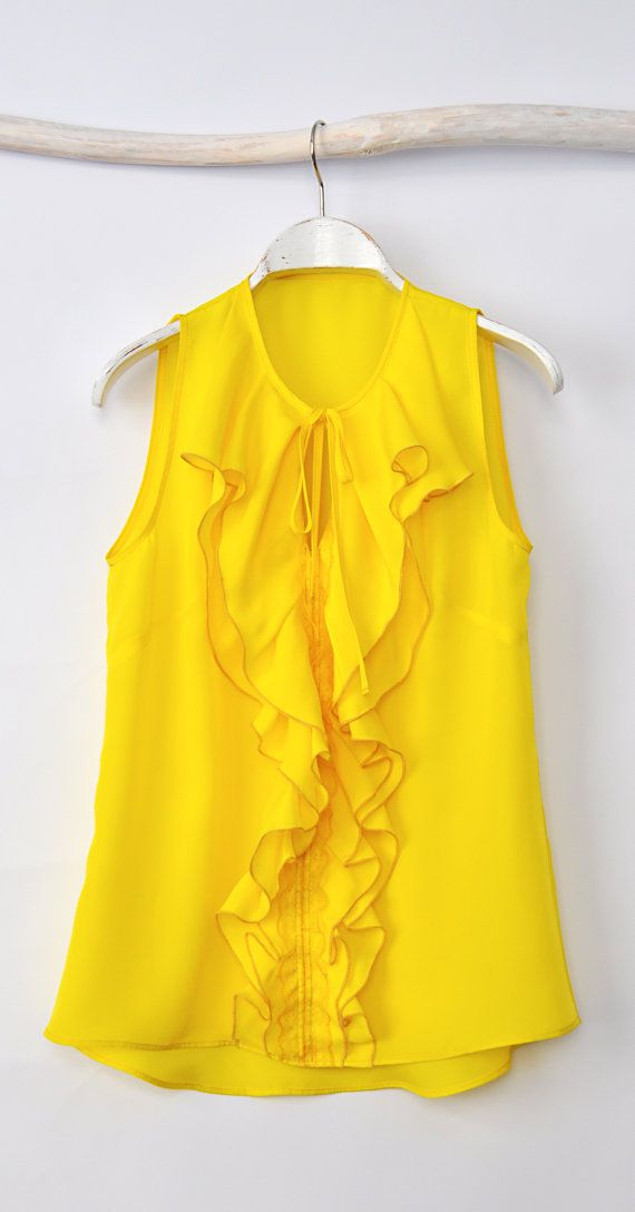 CHRISTMAS SALE 30 OFF TopYellow Blouse by HannaBoutiqueHB on Etsy, €35.90