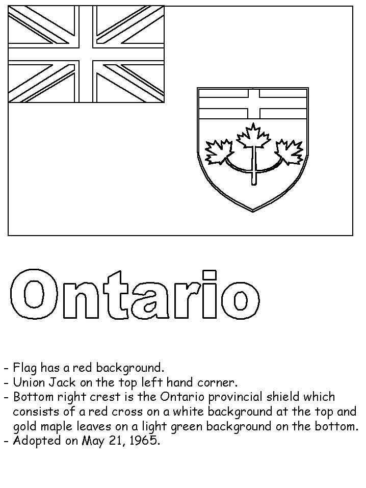 Ontario flag colouring page and some facts about its history