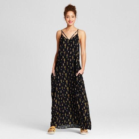 0b6e2207cd Women's Maxi Dress with Pocket Cactus Print - Xhilaration™ Black Cactus  Print XXL : Target
