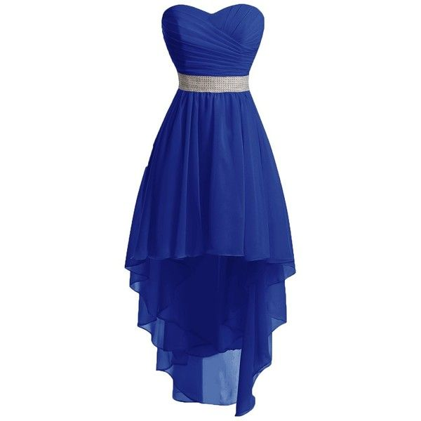 Chengzhong Sun Women High Low Lace Up Prom Party Homecoming Dresses:... ($39) ❤ liked on Polyvore featuring dresses, hi lo dresses, high low cocktail dress, blue cocktail dresses, hi low prom dresses and cocktail party dress