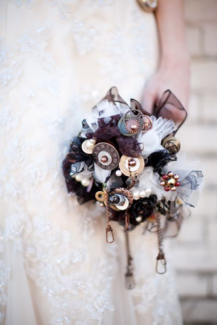 steampunk wedding bride inspiration hair makeup (3). Danielle, we could work some of these in between the flowers?