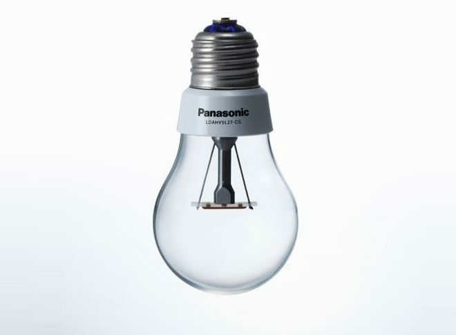 Panasonic LDAHV4L27CG LED mimics the filaments in a traditional bulb, and yet it uses a fraction of the power, can be switched on and off 100,000 times and has instant 'on'. via wired #LED #Panasonic #Light_Bulb #wired