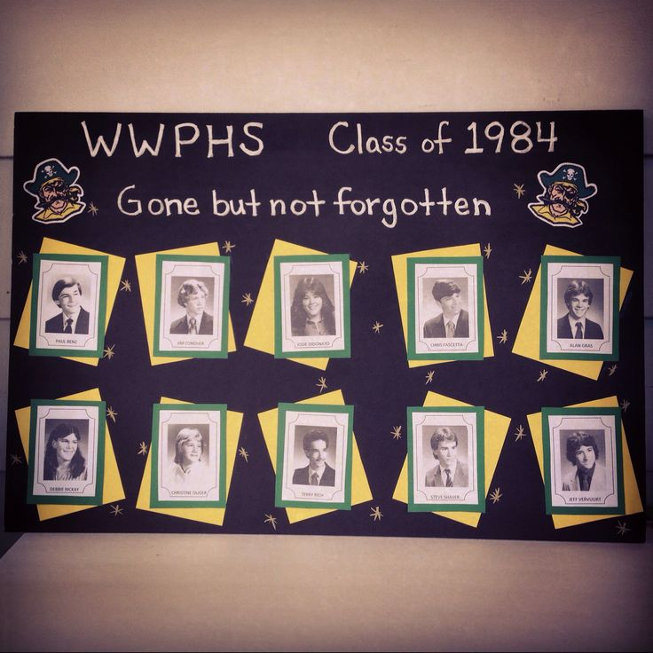 my final product memory board of classmates who have passed away scanned and printed class reunion ideasclass reunion decorationsmemorial