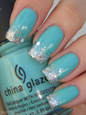 "Diamonds and Tiffany's Are a Girl's Best Friend--- a China Glaze and For Audrey -- a Tiffany blue of course. My tips were covered with ""diamond-like"" OPI Crown Me Already."
