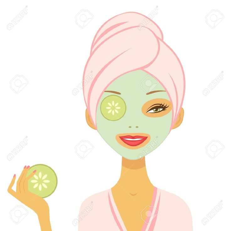 Young Woman Applying Cucumber Mask Vector Format Royalty Free ...