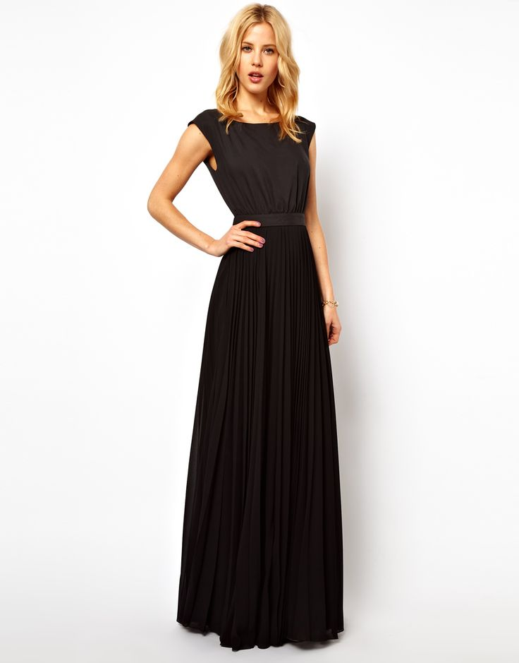 Mango   Mango Maxi Dress With Pleat Skirt And Open Back at ASOS