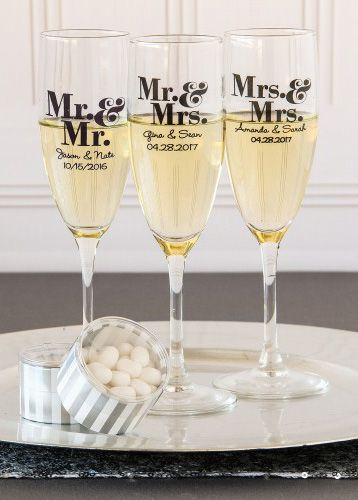 Toast to your marriage with personalized champagne flute favors! These classic champagne flutes will never go out of style, making them a household staple for you and your guests for years to come.