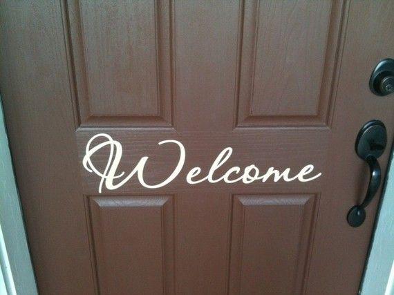 Welcome vinyl lettering decal for front door 23 x by vinylexpress, $7.00