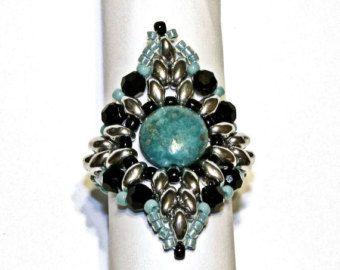Duo de diamante anillo turquesa, anillo turquesa, cuentas anillo, anillo de plata y negro, anillo de turquesa y plata, anillo de diamantes.