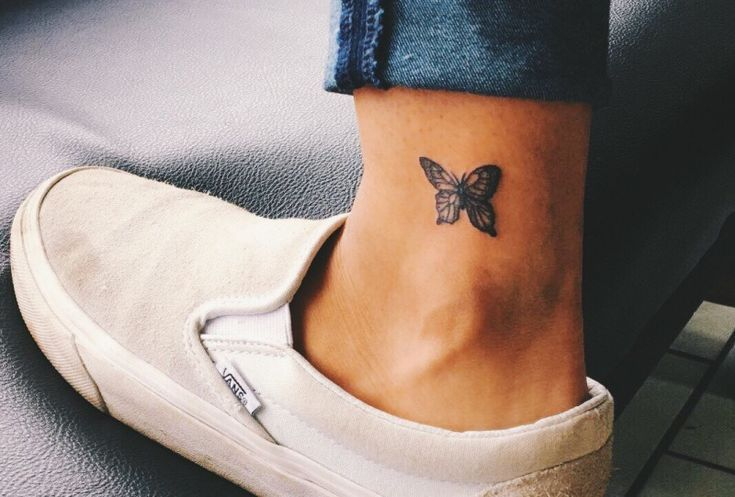 Butterfly ankle tattoo