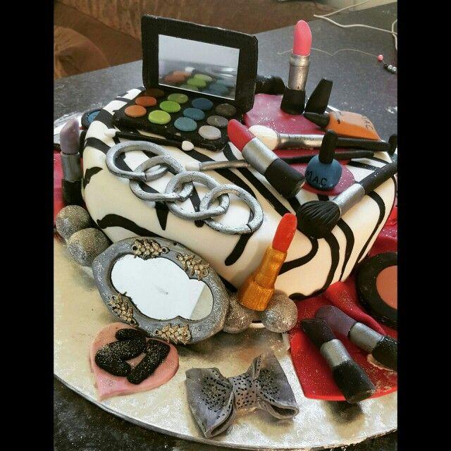 Makeup themed cake with edible audi logo...for Heavens cake....PORT ELIZABETH
