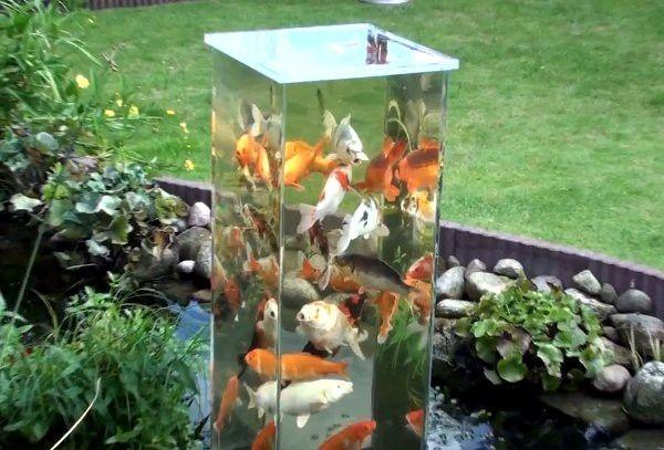 Koi fish pond observation tower - DIY garden pond aquarium