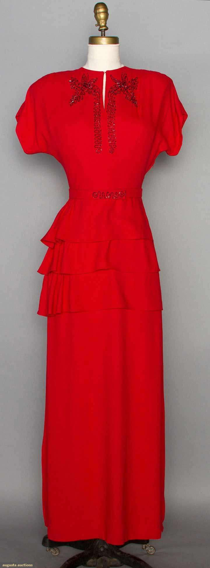Beaded Red Evening Dress, 1940s, via Augusta Auctions. ,