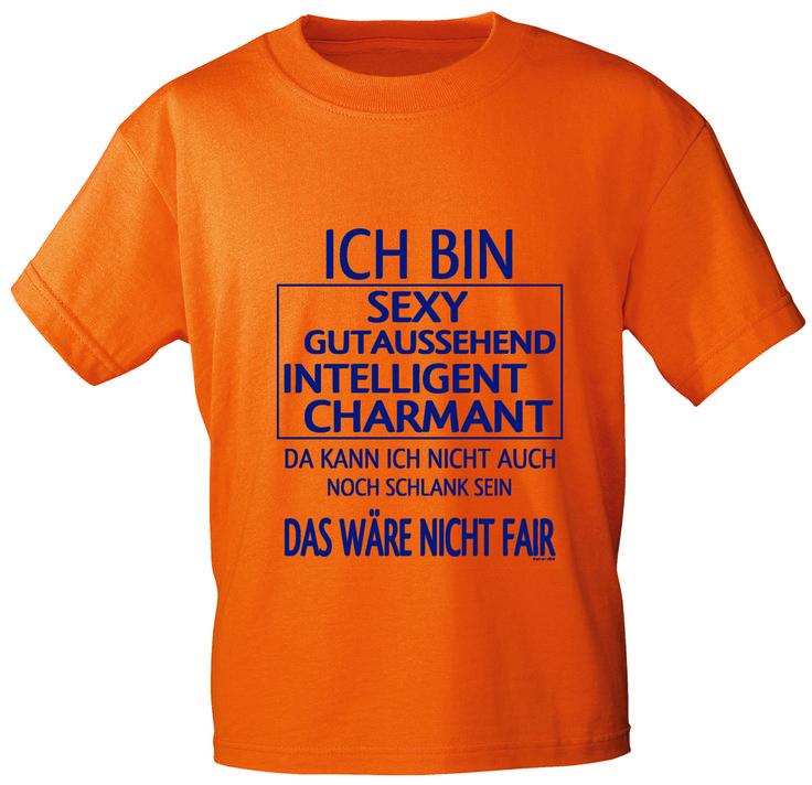 T-Shirt, orange, mit Aufdruck - Ich bin sexy, gutaussehend...