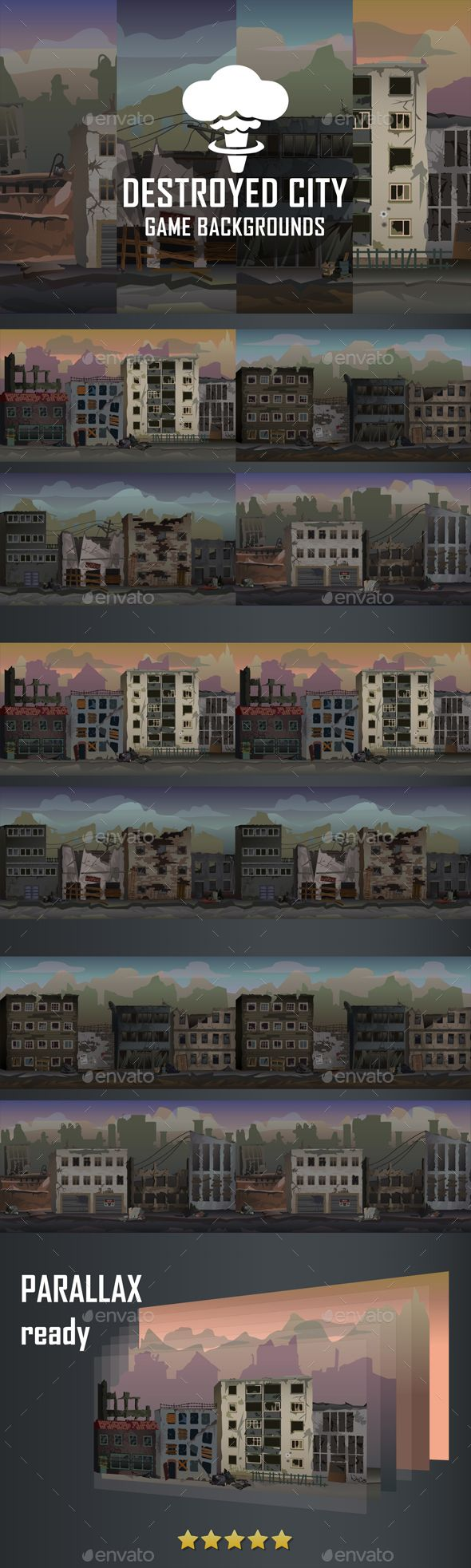 Parallax Destroyed City Backgrounds - Backgrounds Game Assets