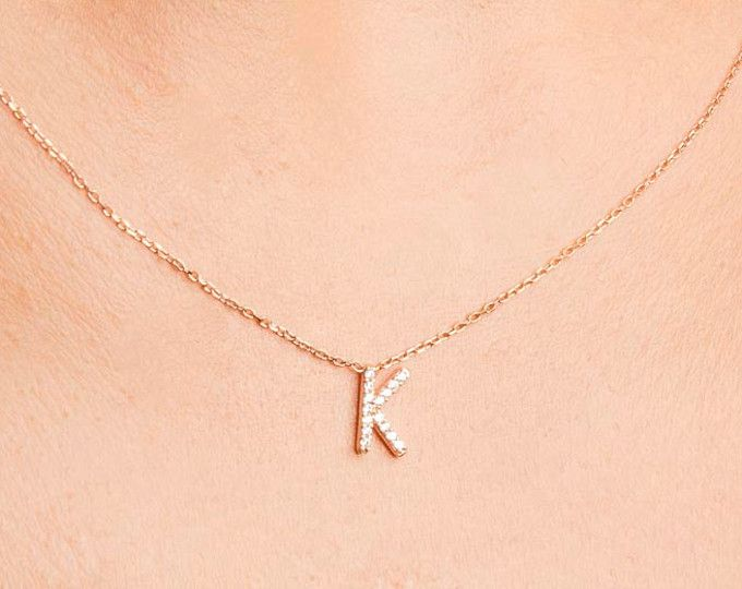 Rose Gold Initial Necklace - Personalized Necklace - Bridesmaid Gift - Bridesmaid Personalized Necklace - Bridesmaid Jewelry-Initial Jewelry