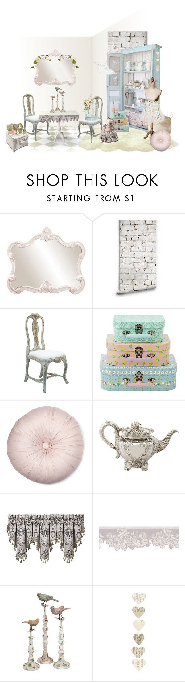 """""""Shabby Chic"""" by deborahparker ❤ liked on Polyvore featuring interior, interiors, interior design, home, home decor, interior decorating, Howard Elliott, Milton & King, J. Queen New York and IMAX Corporation"""