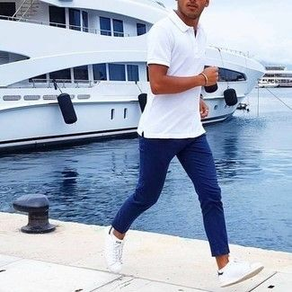 Men's White Polo, Blue Chinos, White Low Top Sneakers