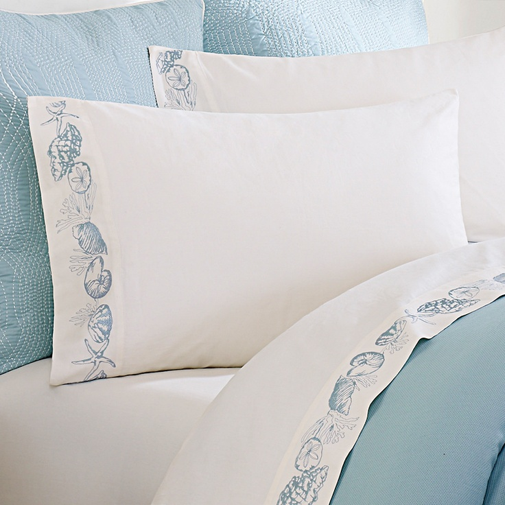 Pretty Taylor Sheet Set in Ivory with a coral motif.  Love the sea shell edging!!! For a guest room