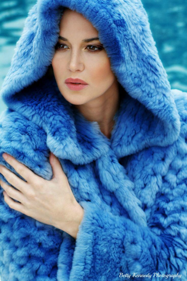 "Fashion Beauty Shots; Ocean Blue hood, Soft Pink Lips w/Sultry Eye Makeup.Model: Former Playmate, ""Tiffany Taylor"", Betty Kennedy: Photography/Makeup/Hair, www.BeautyByBetty.Biz 11-2014"