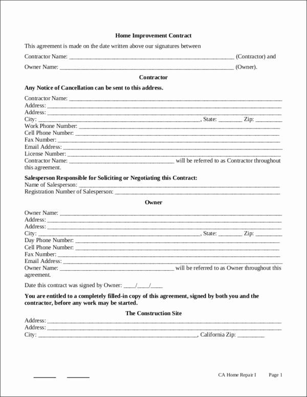 Home Remodeling Contract Template In 2020 Contract Template