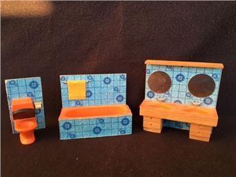 Lundby Badrum 60-70 tal  dockskåpsmöbler miniatyr dockskåp ** UTROP 1 KR **