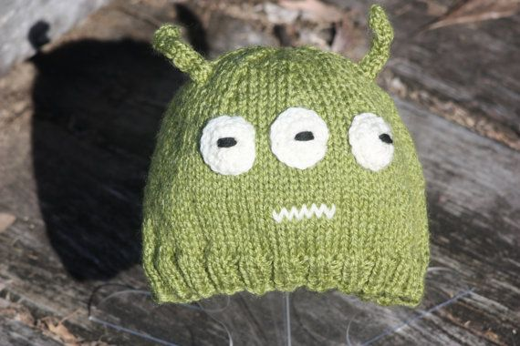 Alien monster novelty hat winter beanie, child's,luxuriously soft wool & bamboo, green, great for halloween costume and beyond