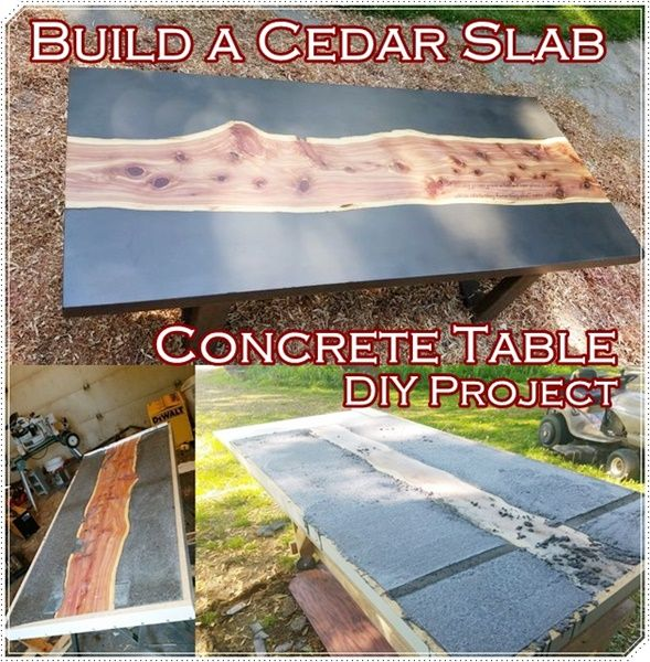 How To Build A Cedar Slab Concrete Table Diy Project Is Perfect For The Person That