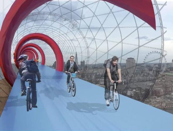 Projeto de ciclovia suspensa SkY Cycle, da firma Exterior Architecture