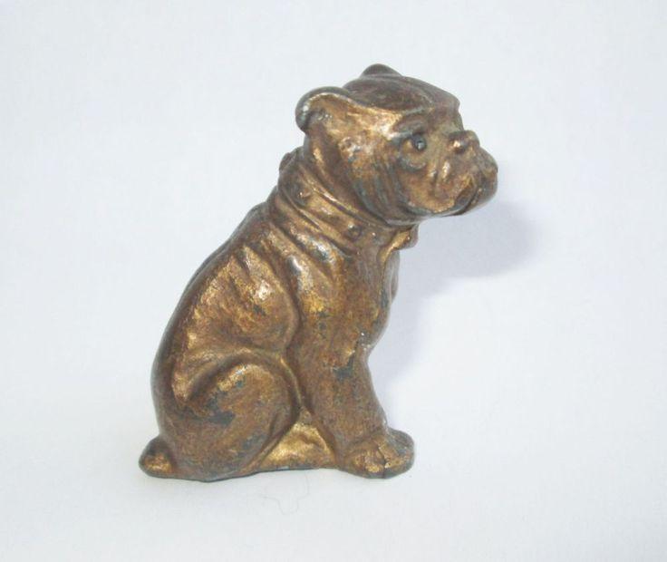 c.1900 ANTIQUE GERMAN PAINTED LEAD METAL BULL DOG BULLDOG FIGURINE DOLLHOUSE TOY  | eBay