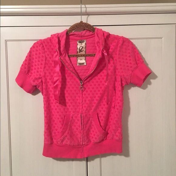 Short sleeve zip hoodie Super cute short sleeve pink zip up hoodie, with silver heart zip up zipper! Very cute and great condition! Tops Sweatshirts & Hoodies