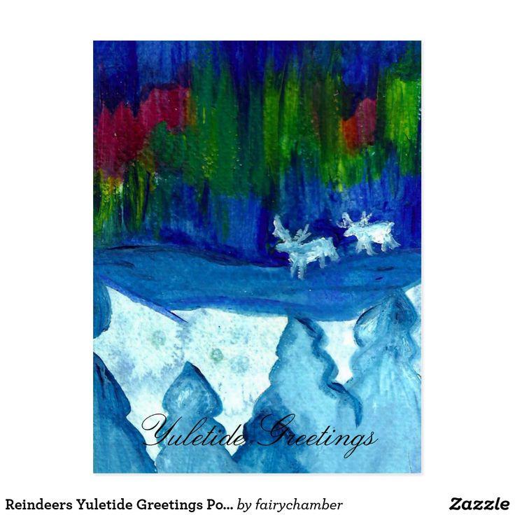 Reindeers Yuletide Greetings Postcar
