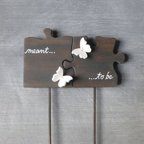 Cake Topper Puzzle Piece Wedding Cake Topper by WoodenHeartButtons