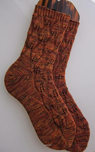 Autumn Fires | Sock knitting pattern, toe up with a short row heel