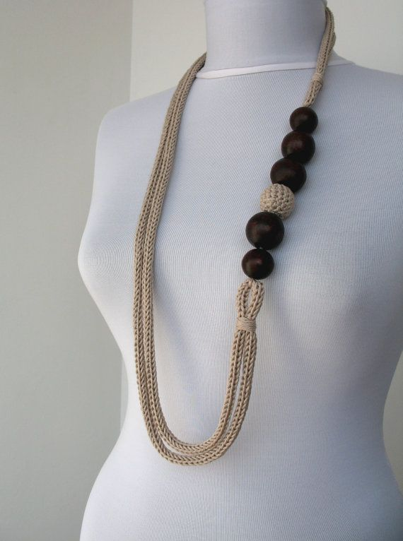 Knitted Statement Necklace in wheat with wooden beads--use crocheted i-cord?