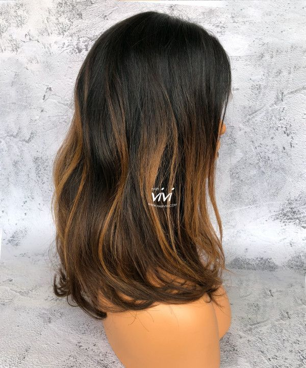 """Gold Dream"" Ombre Wig Messy Straight Hair - Best Online Human Hair Wigs From Hairvivi.com"