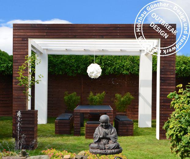 Hochzeitspavillon - Extravagante Pergola mit passenden Gartenmöbeln. Schaffen Sie für sich selbst sowie auch für Ihre Gäste eine besondere Atmosphäre im eigenen Garten! Wir liefern deutschlandweit.