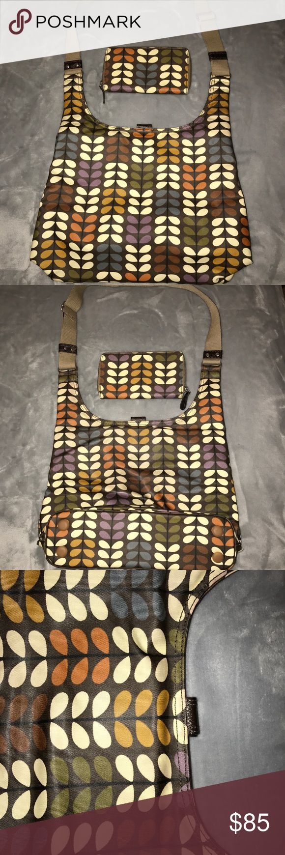 Orla Kiely Midi Sling & Wallet Condition: Good. Wallet Included. There is some denim transfer on the back of the bag at the top as shown in the photos. Orla Kiely Bags Crossbody Bags