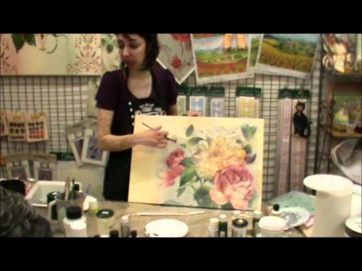 Decoupage tela primaverile rafigurante delle rose .wmv