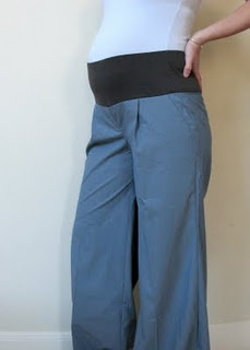 Making room for the baby bump. Turn normal pants into maternity.