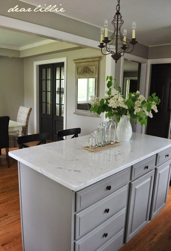Cabinet color is Galveston Gray from Benjamin Moore.  Awesome kitchen revamp from Dear Lillie: