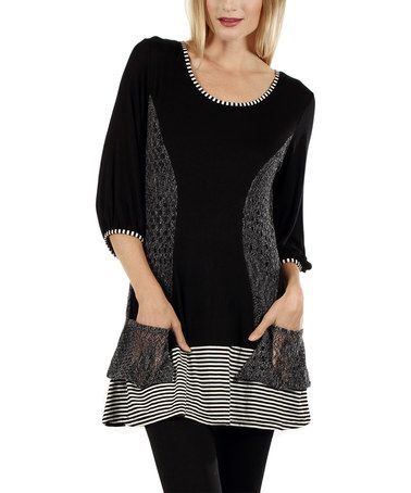 Another great find on #zulily! Black & Gray Color Block Scoop Neck Tunic by Lily #zulilyfinds