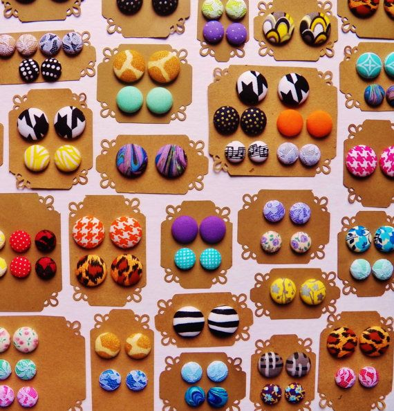 5 Button Earrings for 20  Fabric Button Earrings  by Pairables, $20.00