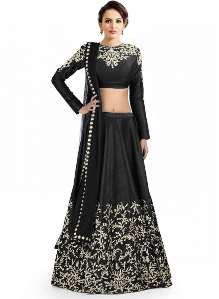 Buy Black Banglori Silk Embroidered Lehenga Choli Online at cheap prices from Shopkio.com: India`s best online shoping site