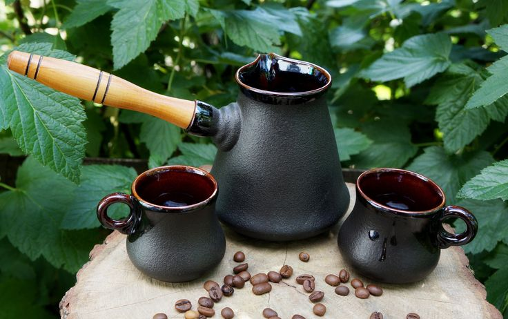 Turkish coffee pot Girlfriend gift Father gift Gift for brother Friendship For boyfriend *************  This Ceramic coffee set made of red clay. This coffee maker will please its owner a unique taste of coffee and its appearance.  Cezve and mugs covered with glaze inside and outside. It is very convenient to clean. Wooden handle - is also convenient. Less risk of burn your hands when brewed drink. This black coffee set can be gifted in the wedding anniversary, New Year, birthday, Valentines…