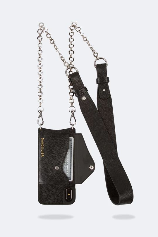 Anna Pebble Leather Crossbody Bandolier - Black/Silver