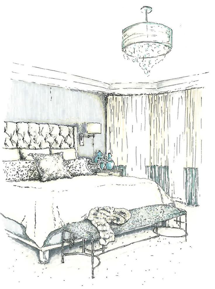 Interior architectural ink rendered hand drawings for Bedroom designs sketch