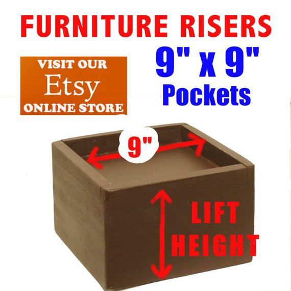 9 x 9 Top Pocket Furniture Risers Bed Lifters
