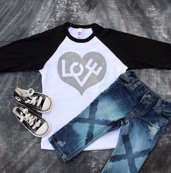 Kids + Toddlers Valentine's Shirt + Love Heart Black & White Baseball Tee + American Apparel + YOU CHOOSE COLOR + Modern Hipster Look by pluckymustard on Etsy https://www.etsy.com/listing/217680947/kids-toddlers-valentines-shirt-love