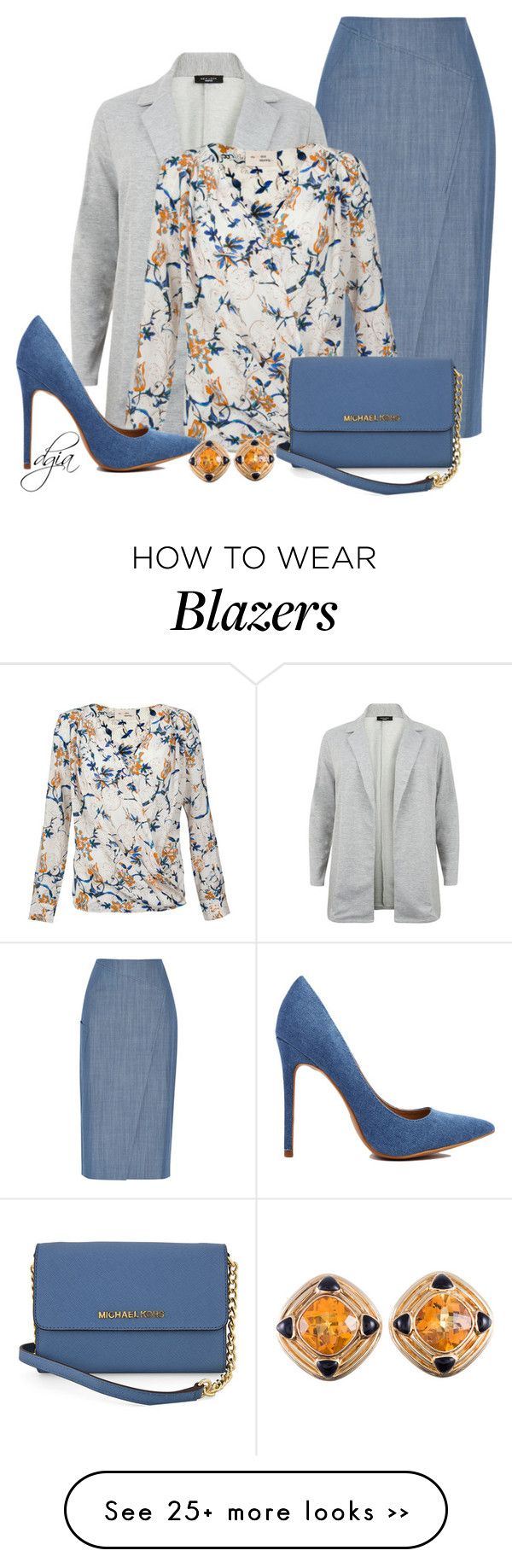 """""""Denim Skirt & Blazer"""" by dgia on Polyvore featuring TIBI and Michael Kors"""